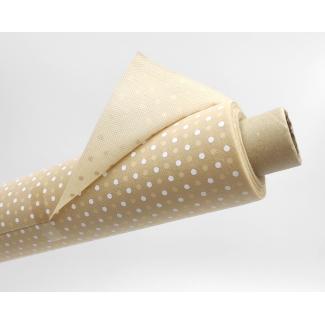 Tovaglia in tessuto non tessuto (TNT), base beige con fantasia pois bianchi, confezionata in rotolo da 1.60x10mt.