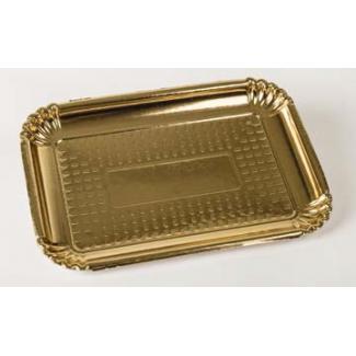 vassoio cartone alimentare oro rettangolare misura 6, confezione da 75 pezzi