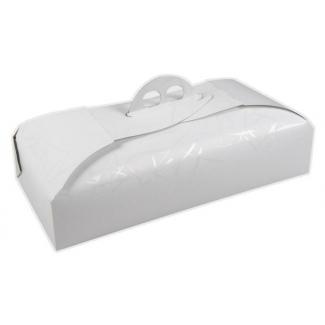 Scatola torta rettangolare bianca linea venere con maniglia, confezione da 25 pezzi