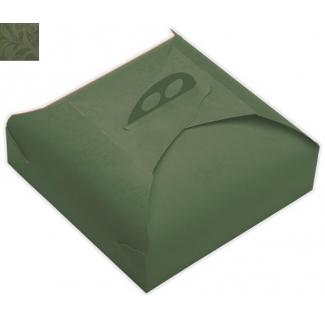 Scatola torta quadrata fantasia damascata verde con maniglia, confezione da 25 pezzi