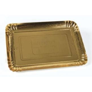 Vassoio cartone oro rettangolare, confezione da 10 kg