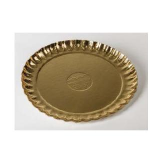 Vassoio cartone tondo oro, confezione da 5 kg