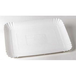 Vassoio cartone bianco rettangolare, confezione da 1 kg