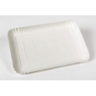 Vassoio in pasta di pioppo bianco rettangolare misura 7, confezione da 100 pezzi