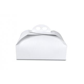 Scatola torta quadrata bianca opaca con maniglia, confezione da 5 pezzi