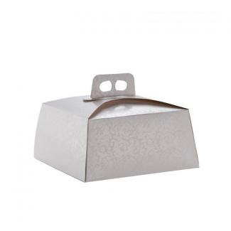 Scatola torta alta quadrata bianca linea daisy, non incollata, con maniglia, confezione da 25 pezzi
