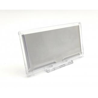 Targhetta autoportante in plexiglass, con supporto pieghevole a snodo, 12.8x7cm