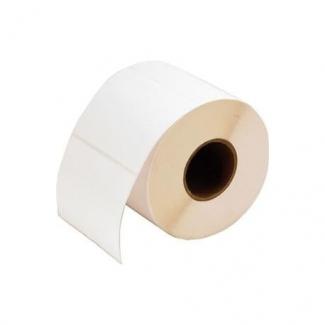 Etichette in carta adesiva bianca misura 58x60 mm, foro 40, in rotolo da 750 etichette