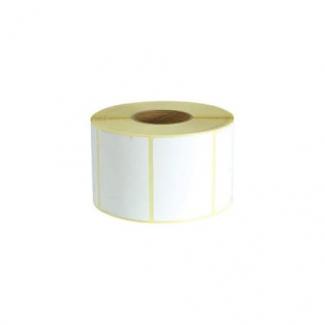 Etichette in carta adesiva bianca misura 58x43 mm, foro 40, in rotolo da 750 etichette