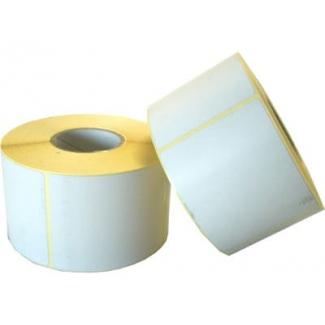 Etichette in carta adesiva bianca misura 60x45 mm, foro 40, in rotolo da 1000 etichette