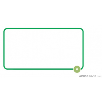 Etichette adesive rettangolari bianche con bordo verde, in buste da 10 fogli