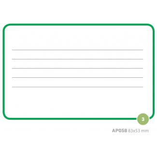 Etichette adesive rettangolari bianche con bordo e righe verdi, in buste da 10 fogli