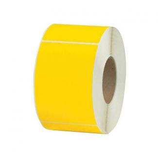 Etichette in carta adesiva gialla misura 47x81 mm, foro 40, in rotolo da 1000 etichette