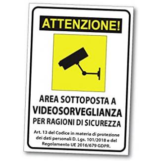 """Cartello """"videosorveglianza"""", in pvc rigido, 20x30cm"""