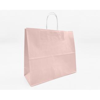 Shopper kraft rosa antico con maniglia ritorta