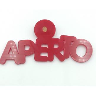 """Scritta """"aperto"""" rossa, in acrilico sagomato, 5.5x1.5cm"""