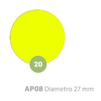 Etichette adesive tonde giallo fluorescente in bustine da 10 fogli