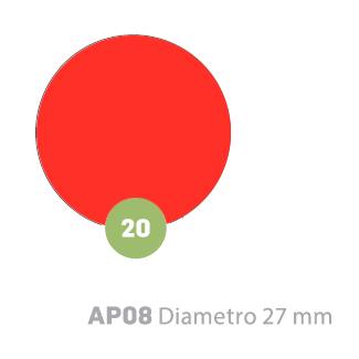 Etichette adesive tonde rosso fluorescente in bustine da 10 fogli