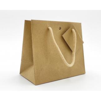 Shopper kraft avana orizzontale con foro maniglia in cotone e tag