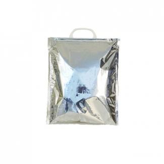 Borsina termica in polipropilene accoppiato termico con maniglia in plastica bianca o blu, interno colore bianco ed esternamente argento metallizzato vendita a cartone