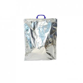 Borsina termica in polipropilene accoppiato termico con maniglia in plastica bianca o blu, interno colore bianco ed esternamente argento metallizzato vendita a confezione da 10 pezzi