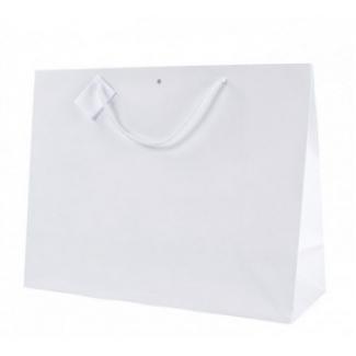 Shopper kraft bianco opaco orizzontale con foro con maniglia in cotone e tag