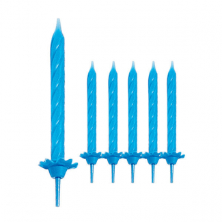 Candela stelo azzurra, alta 6cm in confezione da 24 pezzi