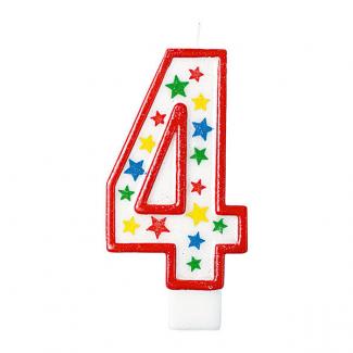 candela con supporto numero 4, alta 13.5cm glitterata