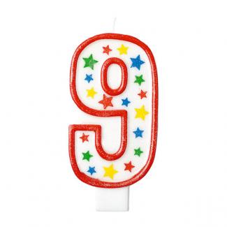 Candela con supporto numero 9, alta 13.5cm glitterata