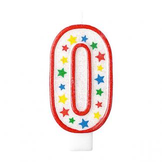 Candela con supporto numero 0, alta 13.5cm glitterata