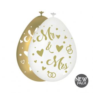"""Palloncino con scritta """"MR&MRS"""" in confezione da 10 pezzi bianco e oro"""