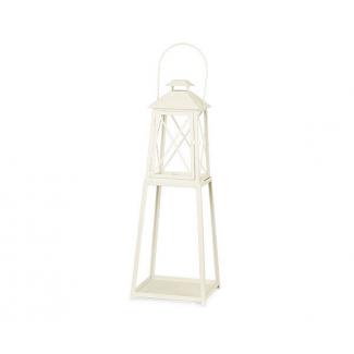 Lanterna in metallo con base avorio mm 192 x 192 x 375