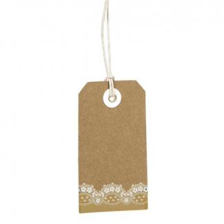 Etichetta tag rettangolare in cartoncino naturale, con filo e decorazione