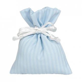 sacchetto a righe con laccio bianco
