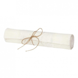 Runner bianco in juta bianco con pizzo applicato cm 30 x 2.5 mt