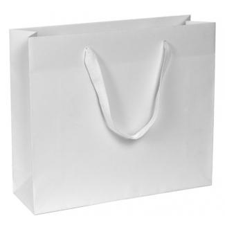 Shopper elegant chic kraft bianco opaco con maniglia in fettuccia cotton