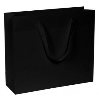 Shopper elegant chic kraft nero natural con maniglia in fettuccia cotton