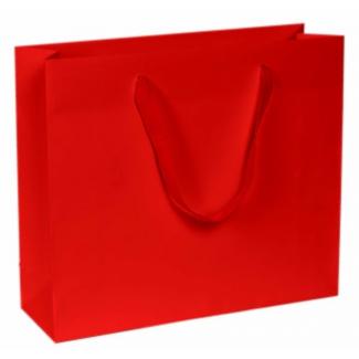 Shopper elegant chic kraft rosso opaco con maniglia in fettuccia cotton