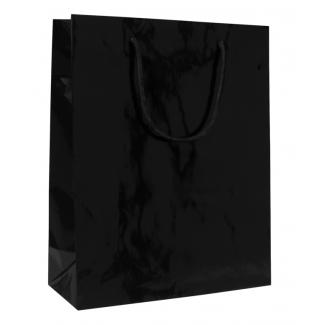 Shopper elegant nero plastificato lucido con maniglia in cordone di cotone