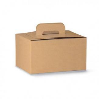 Scatola bauletto take-away con maniglia in cartoncino riciclato avana 20x28cm h.14, confezione da 10 pezzi