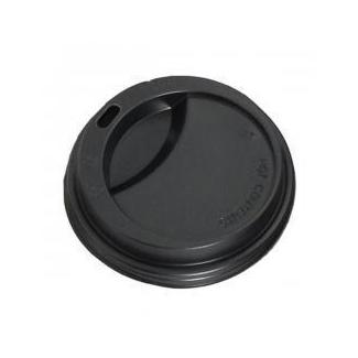 Coperchio in plastica nera con beccuccio per bicchieri in cartoncino con capienza 6oz confezione da 100 pezzi