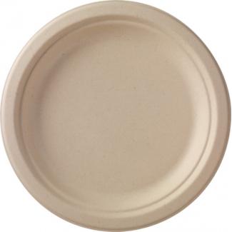 Piatto piano tondo in polpa di cellulosa avana biodegradabile confezione da 50 pezzi