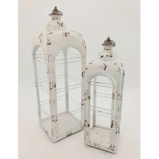 Lanterna in metallo vintage con stelle bianco