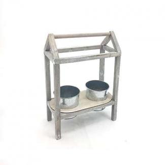 Struttura casetta in legno con due cachepot di latta di diametro cm 10.5