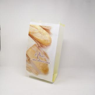 """Sacchetto in carta kraft bianco 43 gr, stampa """"panificio"""", confezione da 10 kg."""
