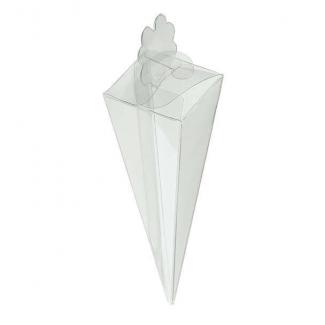 Cono quadrato trasparente porta confetti, 40x155mm, confezione da 10 pezzi