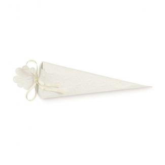 Cono quadrato porta confetti in cartoncino con texture bianca, 40x155mm, confezione da 10 pezzi