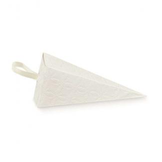 Cono quadrato porta confetti in cartoncino con texture bianca, 45x115mm, confezione da 10 pezzi