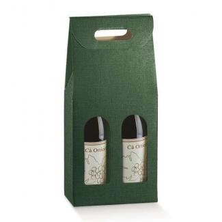 Scatola porta bottiglie in cartone verde scuro con finestra frontale e maniglia superiore
