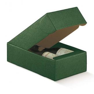 Scatola cantinetta porta bottiglie automontante in cartone verde scuro